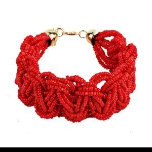 Boho Red Sead Bead Woven Bracelet